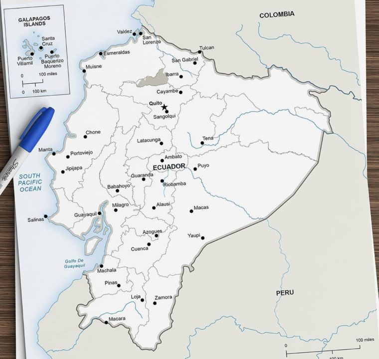 Map of Zone Intag situated in Ecuador
